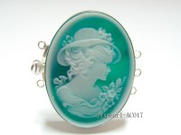 30x40mm Three-row Silver-Edged Green Resin Cameo Clasp