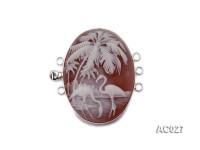 30x40mm Three-row Silver-Edged Red Resin Cameo Clasp