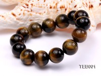 14mm Round Natural Tiger Eye Beads Elasticated Bracelet