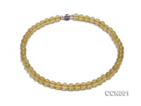 8mm Round Citrine Beads Necklace