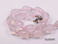 13x18mm Drop-shaped Faceted Rose Quartz Beads Necklace