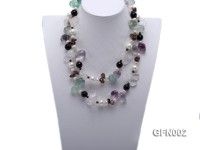 8-9mm Fluorite Crystal and White Freshwater Pearl Necklace