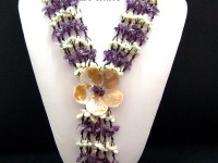 Multi-Strand 8-13mm Amethyst Chips and White Shell Long Necklace