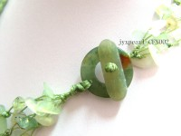 Multi-Strand 8-13mm Aventurine Chips and Flower-Shaped Shell Necklace