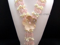 Multi-Strand 8-13mm Rose Quartz Chips and White Shell and Flower-Shaped Shell Necklace