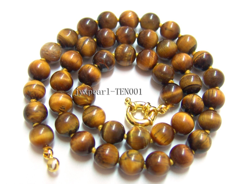 8mm Round Tiger Eye Beads Necklace