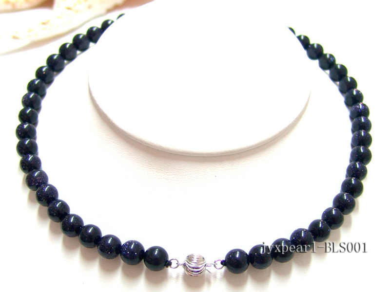 8mm Round Blue Sandstone Beads Necklace