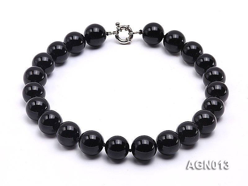 18mm black round agate necklace