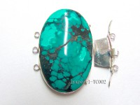 27x35mm Three-Row Sterling Silver Turquoise Clasp