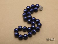 16mm round dark blue seashell pearl necklace