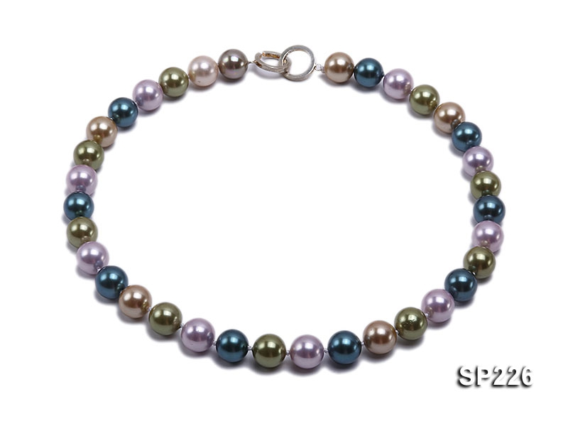12mm colorful round seashell pearl necklace