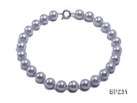16mm lustrous grey round seashell pearl necklace