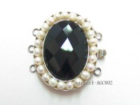 30x40mm Three-Row Sterling Silver Agate&Pearl Clasp