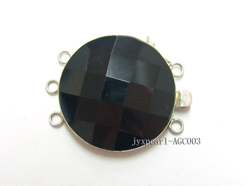 30mm Three-Row Sterling Silver Agate Clasp
