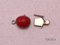 13x16mm Single-Row Silver-rimmed Coral Clasp