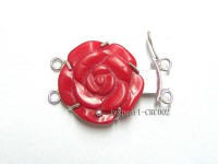 25mm Two-Row Sterling Silver Coral Flower Clasp