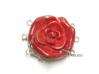 35mm Three-Row Sterling Silver Coral Flower Clasp
