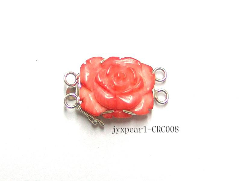 15x20mm Two-Row Sterling Silver Coral Flower Clasp