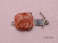 18x20mm Single-Row Sterling Silver Coral Flower Clasp