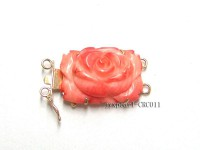 15x25mm Two-Row 14K Gold Coral Flower Clasp