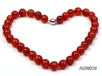 12mm red round agate necklace