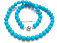 8mm blue round Turquoise Necklace