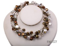 11*14mm white and brown coin freshwater pearl with crystal opera necklace