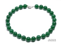 14mm Round Green Malay Jade Necklace