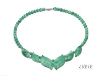 6.5mm Round Light Green and Leafy Korean Jade Necklace