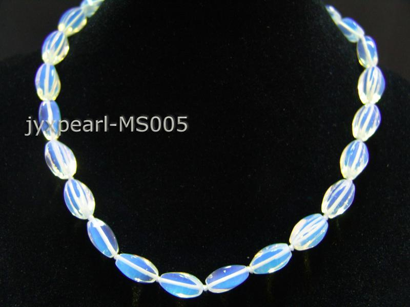 8x16mm Irregular Opalescent Moonstone Beads Necklace