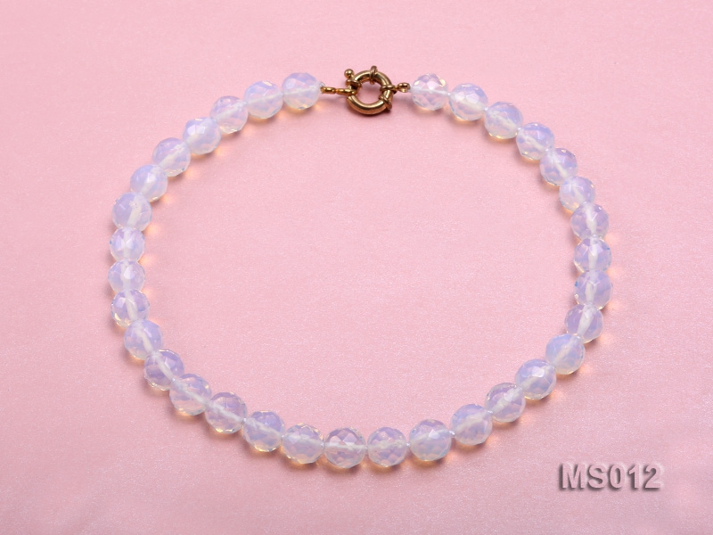 10mm Round Opalescent Faceted Moonstone Beads Necklace