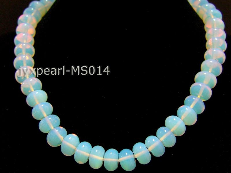 9x14mm Flat Opalescent Moonstone Beads Necklace