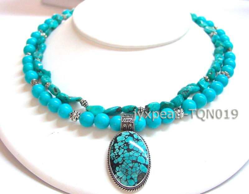 8mm blue round Turquoise Necklace with turquoise pandent