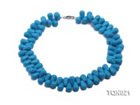 double-strand 12x18mm blue drop shape Turquoise Necklace