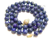 7mm Azure Blue Round Lapis Lazuli Beads Necklace