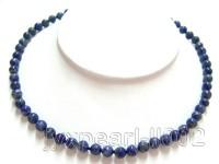 7mm Azure Blue Round Lapis Lazuli Beads Necklace