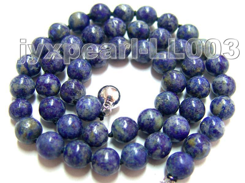 8mm Azure Blue Round Lapis Lazuli Beads Necklace