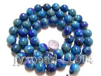 8mm Azure Blue Round Lapis Lazuli Beads Necklace