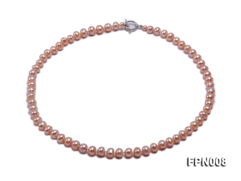 Classic 7-8mm Pink Flat Cultured Freshwater Pearl Necklace