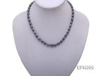 6-7mm Elliptical Black Freshwater Pearl Necklace