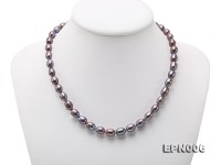 7-7.5mm Elliptical Black Freshwater Pearl Necklace