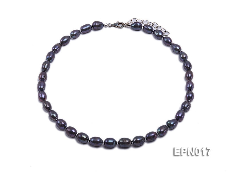 9-9.5mm Elliptical Black Freshwater Pearl Necklace