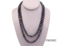 7.5-8.5mm greenish black round freshwater pearl necklace