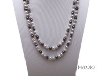 8-9m white grey and black round freshwater pearl necklace