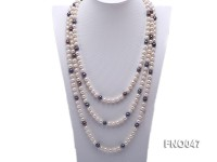 7.5-8.5mm natural white with black round freshwater pearl necklace