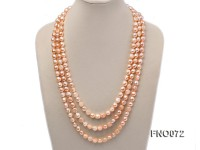 10-11mm natural pink baroque freshwater pearl necklace