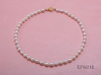 7.5-8.5mm Elliptical White Freshwater Pearl Necklace