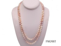 8-9mm natural white pink and lavender rice freshwater pearl necklace