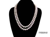 2 strand 8-9mm white round freshwater pearl necklace