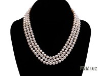 3 strand white flat freshwater pearl necklace